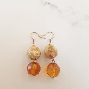 Amber & Marble Glass Earrings